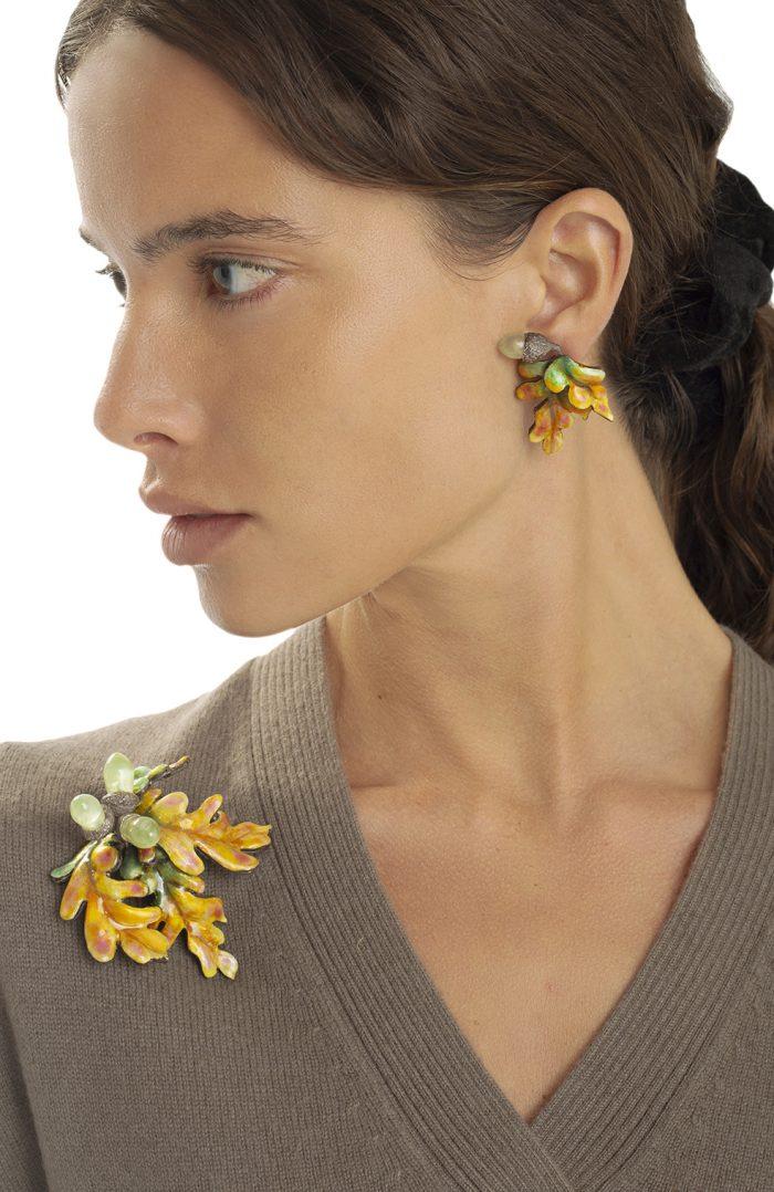 Oak Earrings & Brooch -Luz Camino